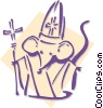Vector Clipart graphic  of a mouse bishop concept - chess