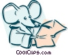 Vector Clip Art image  of a mouse reading concept