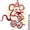 Vector Clip Art picture  of a circus mouse peddling bicycle