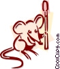 Vector Clipart graphic  of a mouse with a match stick