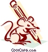 Vector Clip Art image  of a mouse with a pencil concept