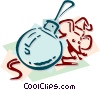Vector Clipart graphic  of a mouse with Christmas ornament