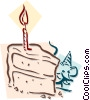 Vector Clip Art image  of a mouse with birthday cake