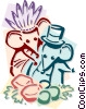 mice celebrating Thanksgiving Vector Clip Art picture