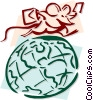 Vector Clip Art graphic  of a mouse traveling the world