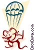 Vector Clipart picture  of a mouse with a parachute concept