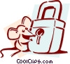 Vector Clipart illustration  of a mouse with a lock concept