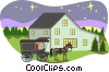 farm scene Vector Clip Art graphic
