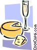Vector Clip Art picture  of a wine and cheese