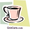 Vector Clip Art graphic  of a coffee cup on saucer