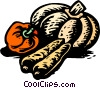 Vector Clip Art image  of a squash with turnip and red