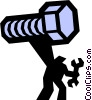 Vector Clipart illustration  of a bolt and man