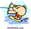 Vector Clip Art image  of a water-skier