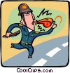 Vector Clipart picture  of a policeman with a whistle
