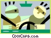 Vector Clip Art graphic  of a safe driving