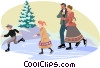 Vector Clip Art graphic  of a turn of the century skaters
