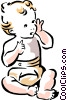 Happy baby in diapers Vector Clipart image