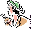 woman with book Vector Clipart graphic