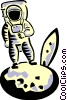 Vector Clip Art image  of an Astronaut on the moon