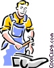 Vector Clip Art image  of a man with hammer