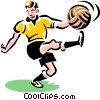 Vector Clipart illustration  of a Soccer player kicking ball