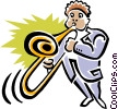 man with trombone Vector Clipart image