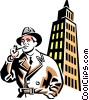 man with a pipe and office tower Vector Clip Art image