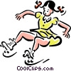 girl with roller-skates Vector Clip Art image