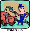 Vector Clip Art picture  of a man with gas pump