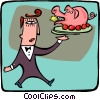 Vector Clipart picture  of a man serving a pig