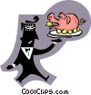 man serving a pig Vector Clipart graphic