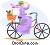 Vector Clip Art picture  of a woman on a bicycle