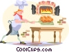 Vector Clip Art graphic  of a man baking bread