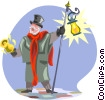 Vector Clip Art image  of a town crier with bell and light