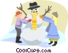 Vector Clipart illustration  of a children making a snowman
