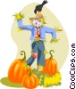 Scare crow with pumpkins Vector Clip Art image