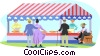 People enjoying day at the fair Vector Clipart image
