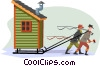 Vector Clipart graphic  of a the winter ice-fishing shack
