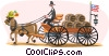 early American water wagon Vector Clipart illustration