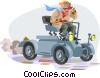 early auto race car enthusiast Vector Clip Art graphic