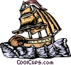 Ship/woodcut style Vector Clipart illustration