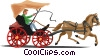 Vector Clipart graphic  of a buggy with horse