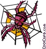 Vector Clip Art image  of a spider on a web