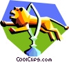 Vector Clip Art image  of a lion jumping through a hoop