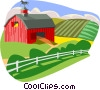 Farm scene with barn Vector Clipart graphic