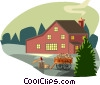 rural scene with farmhouse and wood cart Vector Clipart graphic