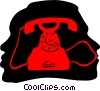 Vector Clipart graphic  of a telephone communications