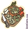 stew pot with vegetables Vector Clip Art picture