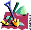 Vector Clip Art graphic  of a pick with shovel