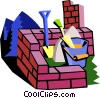 brick wall with construction tools Vector Clipart image